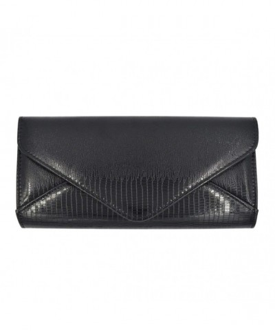 Leather Textured Envelope Evening Handbag