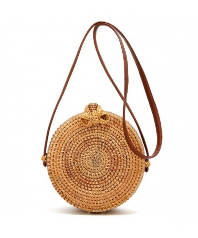 Handmade Rattan leather Shoulder Crossbody