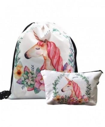 Unicorn Drawstring Backpack Makeup Bag