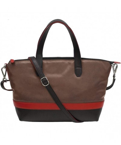 ili Leather Zippered Satchel Handbag