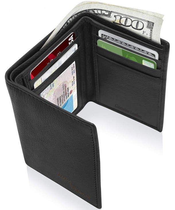 Trifold Leather Wallets Men Slim