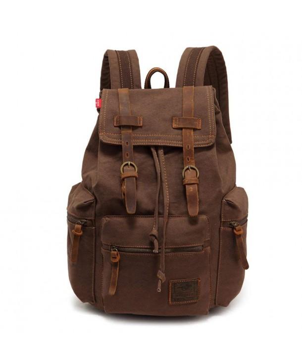 caa248b730 Vintage Canvas Leather Backpack Large Laptop Rucksack Bookbag Satchel  Hiking Bag - Coffee - CZ18236IOTW