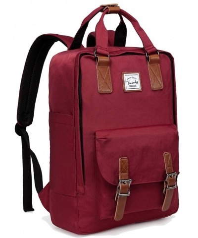 Backpack VASCHY Vintage Water Resistant Burgundy