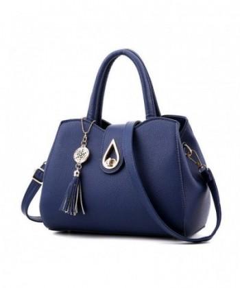 56751409f84e Women Small Satchel Purses Dumpling Shaped Tote Bags Shoulder Tassel  Handbags - Navy Blue - CQ12NB4Z2UU