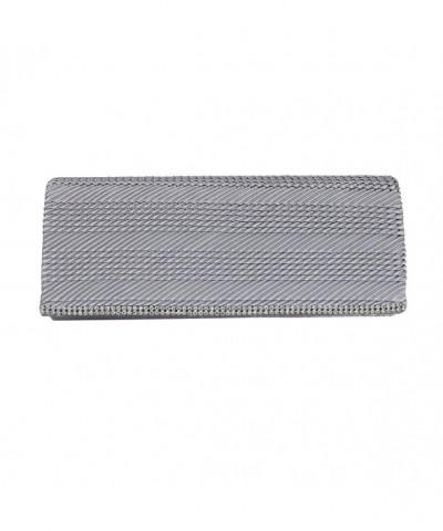 Silver Flap Clutch Purse Rhinestone