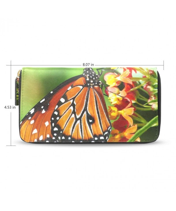 Womens Butterfly Leather Wallet Zippered