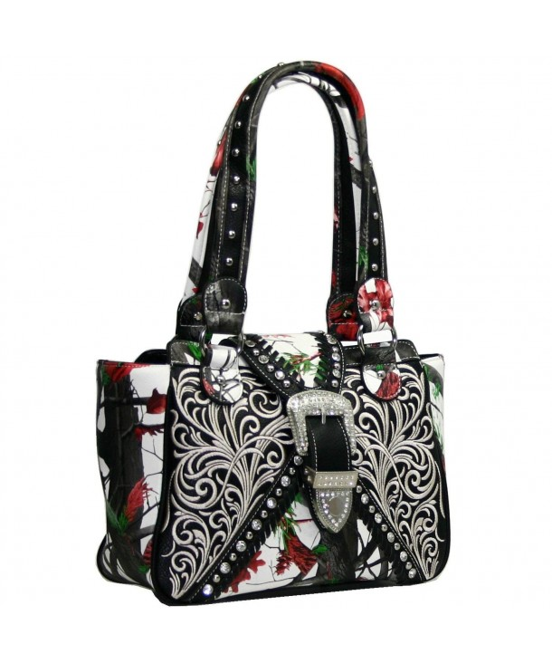 Western Concealed Embroidered Buckle Handbag