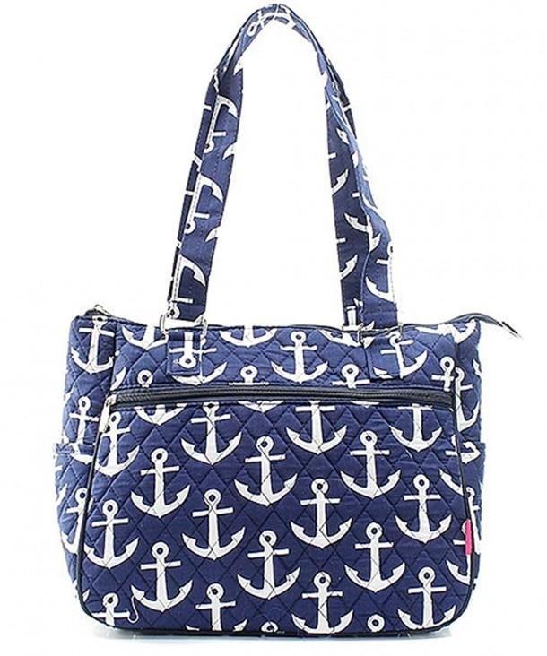 Nautical Anchor Quilted Canvas Handbag