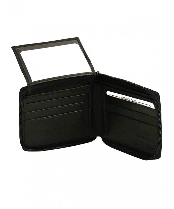 Black Leather Zippered Bifold Wallet