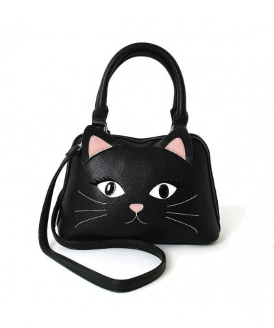 Black Cat Face Satchel Handbag