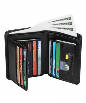 Leather Wallets Genuine Blocking Trifold