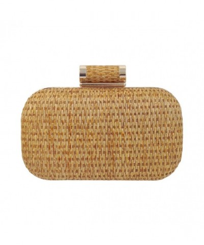 Raffia Straw Box Clutch Natural