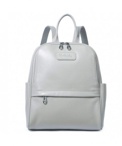BOSTANTEN Genuine Leather Backpack Lightgray