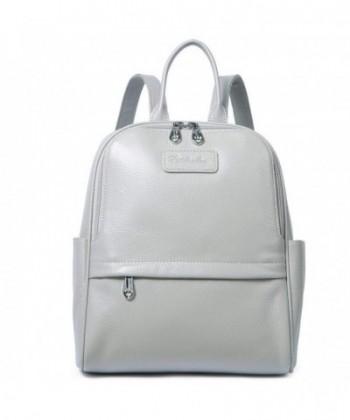 BOSTANTEN Genuine Leather Backpack Lightgray