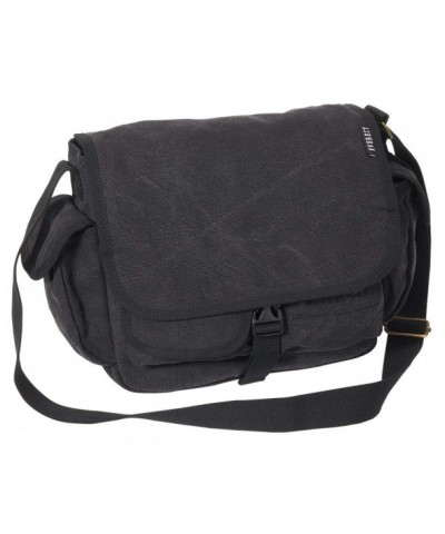 Everest Luggage Canvas Messenger Black