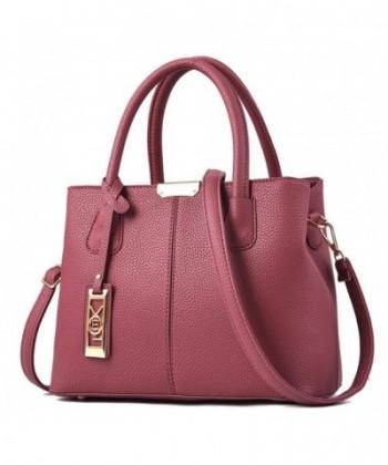 Leather Satchel Handbag Quilted Shoulder