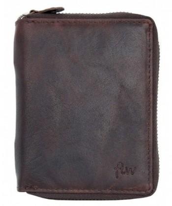 Natural Zip Around Durable Genuine Leather