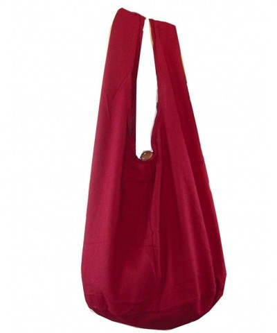 Buddha Cotton Crossbody Messenger Burgundy
