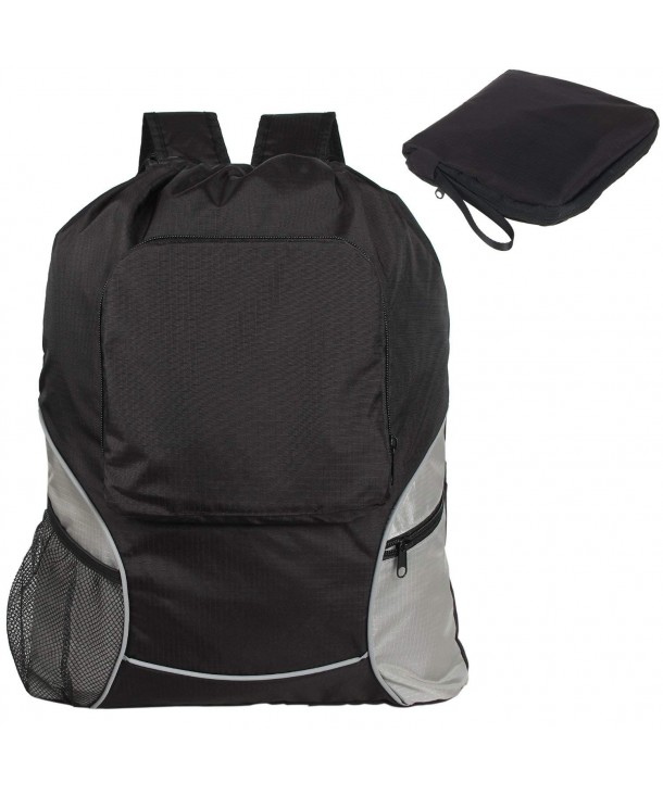 60c7d09c3 Drawstring Backpack- Foldaway Sport Gym Sack Pack Cinch Sack - Black ...