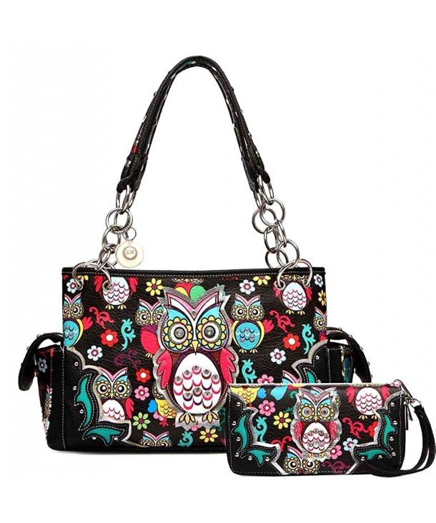 Owl Purse And Wallet Set Colorful Satchel Western Handbag Style Black P Cr186we7ccy