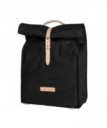 Italy Canvas Backpack Leather Black