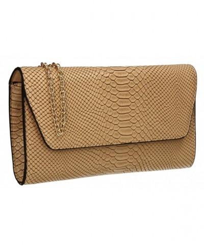 Snakeskin Metallic Leather Clutch Bag