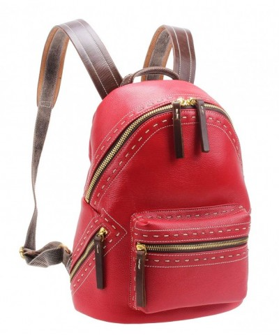 Leather Backpack Shoulder M6118 red