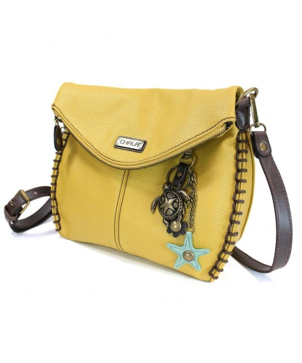 Charming Crossbody Leather Turtle Mustard