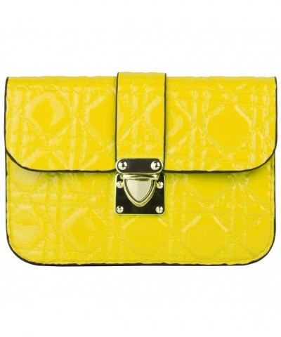 Yellow Quilted Womens Clutch Crystal