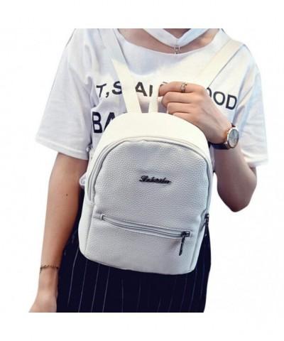 Creazrise Backpack Leather Zipper Rucksack