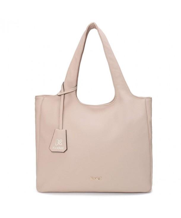 ecf04db26774 ... Women Tote Bags Simple Designer Handbag for Ladies Soft PU Leather  Shoulder Bag - Nude Color - CM182TIGE4O. Kadell Designer Handbag Leather  Shoulder