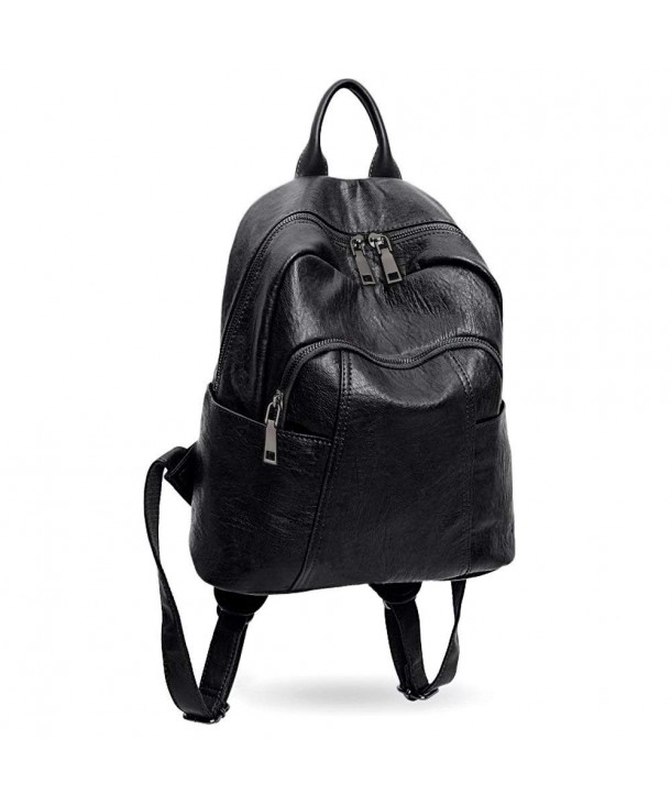 Women Backpack Purse PU Washed Leather Ladies Rucksack Shoulder Bag ... ddd421bf06691