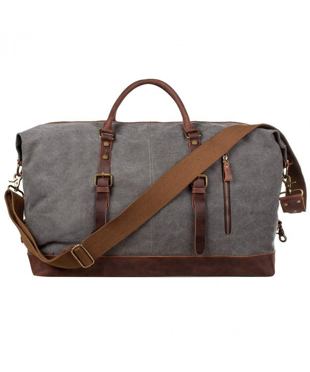 Oversized Duffel Bag Canvas Genuine Leather Travel Tote Duffel ... 0927bd68e17