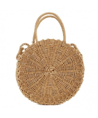Handwoven Rattan Shoulder Leather Natural
