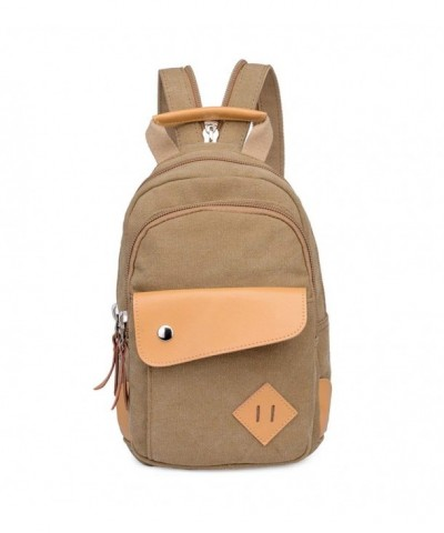 Topsung Leather Canvas Backpack Brown
