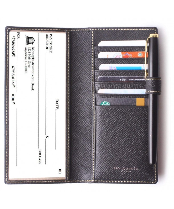 online retailer 544a6 4d260 Leather Checkbook Cover For Men Women Checkbook Covers with Card Holder  Wallet RFID Blocking - Black - C618ESLWTHE