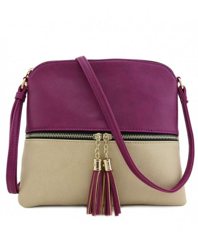 Tassel Accent Colorblock Crossbody Magenta