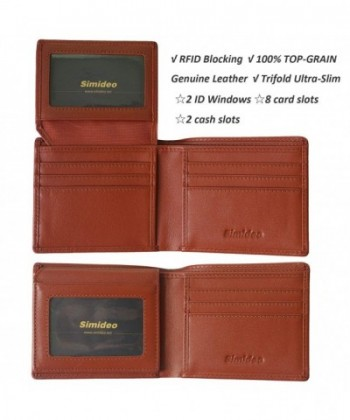 32b34435bae8 Men's Wallet TOP-GRAIN Genuine Leather Wallet Ultra-Slim Bifold Trifold  Wallet with RFID Blocking - Brown - C618DUU62ZZ