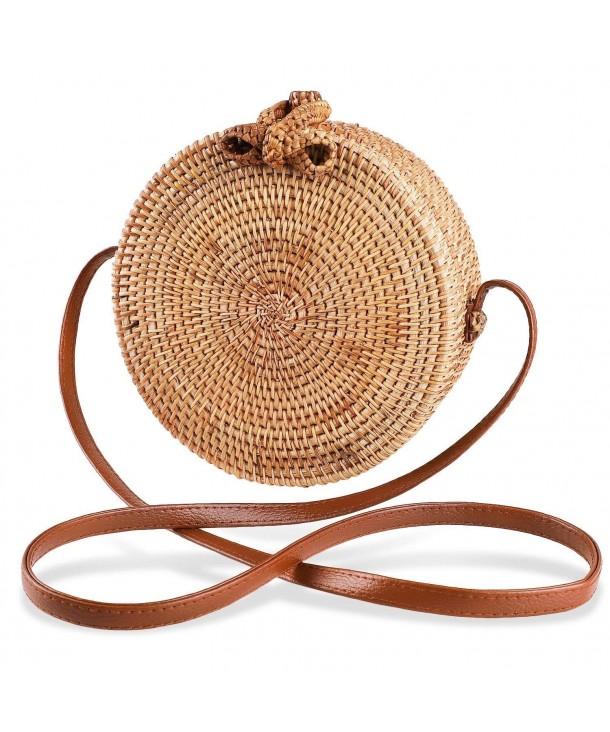 Women s Round Handwoven Rattan Bag Small Straw Tote Handbag Summer ... c89738f646d32