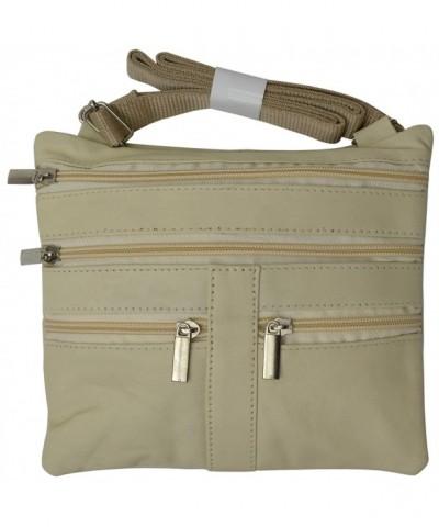 0e8b4fbca Soft Leather Cross Body Bag Purse Shoulder Bag 5 Pocket Organizer Micro  HandbagTravel Wallet 7 colors (Cream) - CT11ZRI7J6F