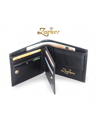 Luxury black leather wallet compartments
