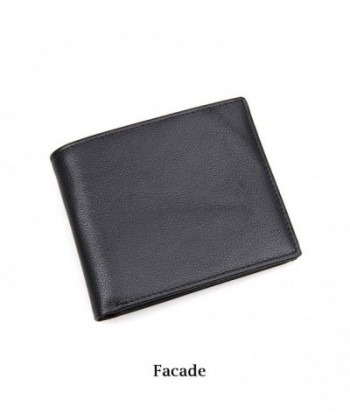 ed791c8268db Mens Genuine Leather Wallet Slim Bifold RFID Blocking Stylish thin Wallet  For Men - Black - CM18I8RHG6I