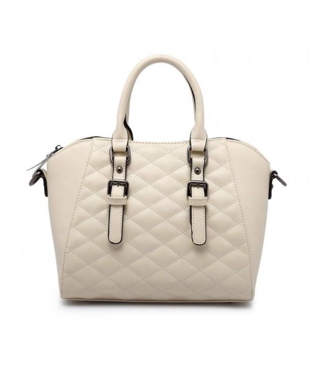 bd140b3adaeb Vintage Diamond Quilted Pattern Reversible Top Handle Satchel Shell Boston  Handbag Lady Purse - White - C218CQ4YSQD