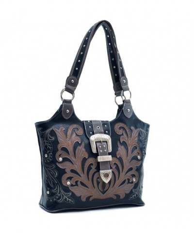 Western Rhinestone Buckle Embroidered Handbag
