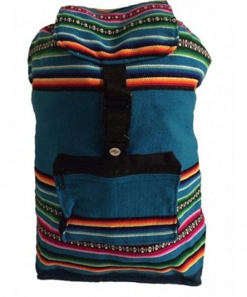 Beach Bag Backpack Teal Blue Rainbow