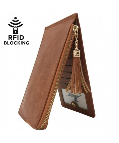 Womens Blocking Bifold Organizer Tassels