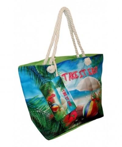 Tropical Print Beach Tote Pouch