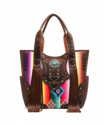 Western Handbag Fringed Multi colored Satchel
