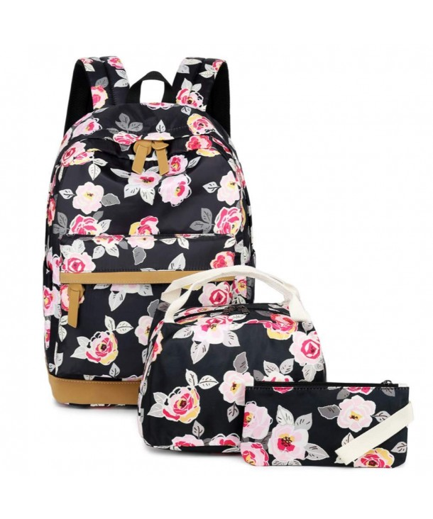 MUOOUM Spring Flower Floral Pink Painting Polyester Backpack School Book Bag Travel Daypack