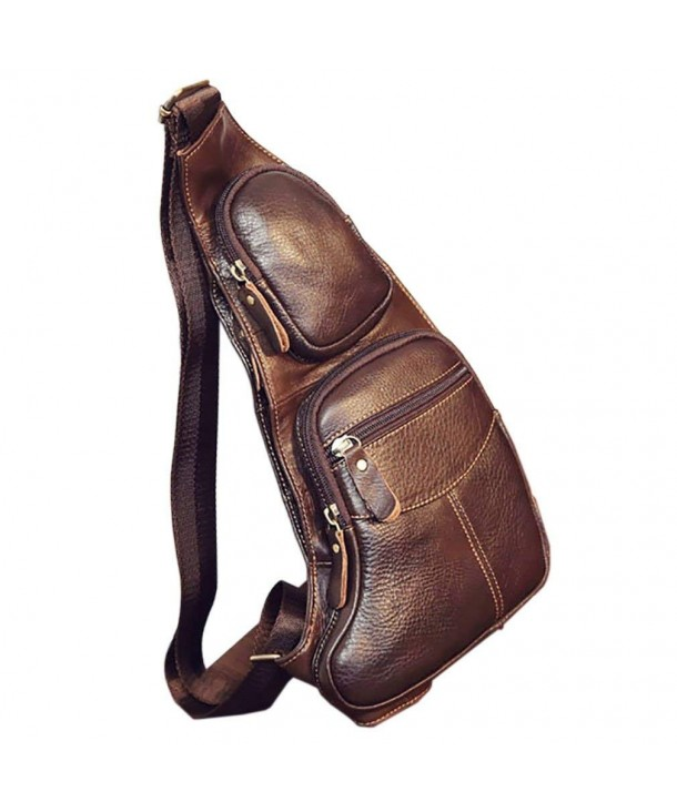 outlet store sale top-rated quality cheap for sale Men's Vintage Genuine Leather Chest Bag Tactical Military Shoulder  Messenger Crossbody Pack - Coffee - C018C047L2W